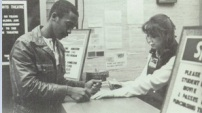 A Little Rock Central High student purchases a ticket at the Heights Theater in 1985. Despite having only one screen, the theater was open for nearly 40 years.
