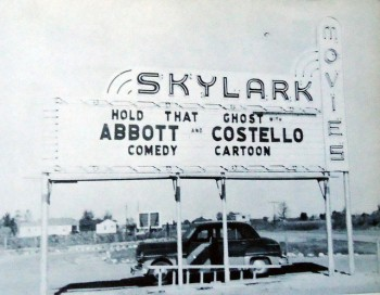 "Abbott and Costello star in ""Hold That Ghost"" at the Skylark Drive-In, 5241 U.S. 67, in Pocahontas. The site of the former drive-in is currently occupied by a flea market."