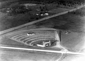 An aerial view of the Starlite Drive-In from 1952. Located along U.S. 62, the original screen was destroyed by a tornado in 1961. It was made of wood due to a steel shortage caused by the Korean War.