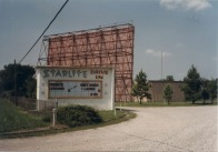 """The Starlite Drive-In during its final year of operatin 1987. The movies showing that day were """"Private Lessons"""" and """"Only When I Laugh."""" Today a bank operates at the site. Today, the Kenda Drive-In in Marshall uses the Starlite's old projection equipment."""