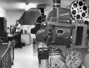 """Inside the projection booth at Cinema 150. The first film shown at the 150 was """"The Odd Couple."""" The final film, shown in May 2003, was """"X2: X-Men United."""""""