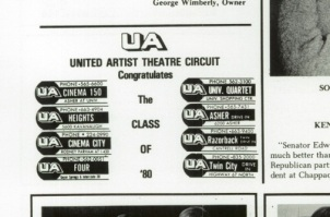 United Artists dominated the Little Rock market, as evidenced by this clipping from the 1980 Little Rock Central High yearbook, The Pix.