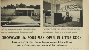 A magazine clipping showcases the new UA Four in Little Rock. The Four, located at on Geyer Springs Rd. near I-34, opened in 1973 and closed in the 1990s.