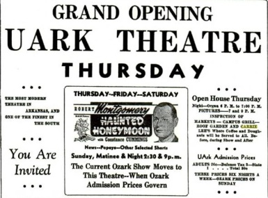 """Haunted Honeymoon,"" starring Robert Montgomery, was the first film to play at the UARK Theater."