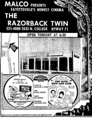 Razorback Twin Cinema, later expanded and renamed Razorback 6 Cinema, opened in the 1970s at 2035 N. College Ave. in Fayetteville. The theater closed in 2009 when Malco opened a 16-screen multiplex a few miles west of College Avenue and Joyce Boulevard. The building has been renovated and currently houses a World Gym.