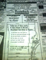 """This near full page ad in the June 17, 1962 edition of the Arkansas Gazette announced the grand opening of the """"South's finest and Arkansas' first twin drive-in theater."""""""