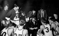 Duddy Waller, center, took over the program ahead of the 1966-67 season. Waller's tenure was unremarkable; in four years at Arkansas, Waller went 31-64 and finished no higher than fifth in the SWC. His 32.6 winning percentage is the lowest among any Hogs basketball coach.