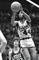 Van Eman's tenure also was notable for recruiting Martin Terry, pictured above, and Dean Tolson. Both were phenomenal players and the first black stars of the modern era of Razorbacks basketball. A talented scorer, Terry was named first-team All-SWC in 1972 and 1973, posting scoring averages of 24.3 and 28.3, respectively. Terry still holds the school record for single season and career scoring averages.