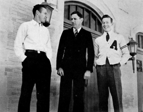 Glen Rose, center, served three years as an assistant under Bassett. In 1934, the university promoted him to head coach to revive a sagging program. After a rocky first season, the former All-American guided the Hogs back to a share of the SWC title in 1935. The following year, Arkansas won the conference outright.