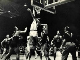 Arkansas had its worst postseason showing in the 1958 tournament. After an opening round bye, Oklahoma State crushed the Hogs by 25 points. In the regional third place game, future NBA Hall of Famer Oscar Robertson torched the Hogs for 56 points as Cincinnati steamrolled Arkansas 97-62. Robertson nearly out-shot the entire team, going 21 of 36 from the floor, with Arkansas finishing 22 of 87.