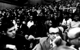 Like its predecessor, Barnhill Fieldhouse was a multifaceted facility. Inside among the basketball equipment was workout space for the football team, a dirt track for the track team and atlhetic offices. The building also was used for concerts and speaking engagements. Pictured above, a capacity crowd gathers in 1969 to hear Muhammad Ali speak.