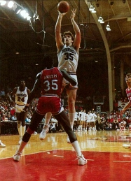 While the 1984 season widely is remembered for Arkansas' memorable upset of No. 1 North Carolina, two other moments stand out: the regular season finale against No. 2 Houston and Alvin Robertson recording the school's first triple-double. The Cougars entered Barnhill having won 39 straight Southwest Conference games. Joe Klein had a terric game, forcing Houston's star center, Akeem Olajuwon, to foul out as No. 12 Arkansas pulled the upset in a nationally televised game. The Cougars, however, avenged the loss a week later, edging Arkansas 57-56 in the SWC Tournament Championship.