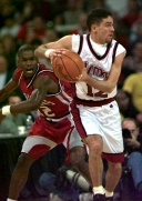 Arkansas returned essentially the same team for the 1994-95 season. A preseason favorite to repeat as national champions, the Hogs opened the year ranked No. 1. But the Razorbacks' title defense got off to a rocky start. Facing No. 3 Massachusetts at a neutral site in Springfield, Mass., the Hogs were obliterated 104-80 in a nationally televised game.