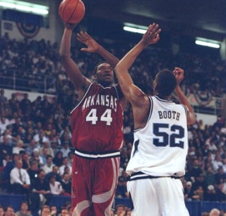 The Hogs finished the 1996 regular season with an 18-12 record, which included a 9-7 mark in SEC play. It was the first time a Richardson team had failed to win at least 10 SEC games in a season. The Hogs received an at-large bid to the tournament and were seeded No. 12. In the first round, Arkansas upset No. 5 seed Penn State -- in Providence, R.I., no less -- before rolling fourth-seeded Marquette.