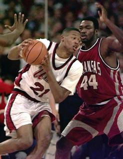 It was in the Sweet 16 where Arkansas ran into an old foe: Marcus Camby. The previous year, Camby helped Massachusetts obliterate the Hogs in the season opener. Now Camby was Player of the Year and anchoring the region's top seed. Arkansas floundered in the opening minutes -- missing four layups -- while UMass bolted to a 13-0 lead. In the end, the Hogs fell by 16 as UMass went on to its first Final Four.